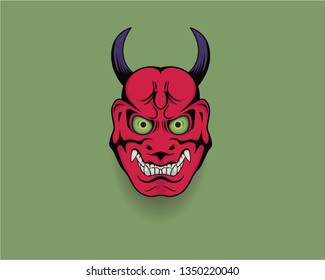 Japanese red giant (Oni) mask. Japanese traditional - vector