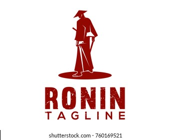 Japanese Red Samurai Ninja Ronin Warrior Illustration Logo Design