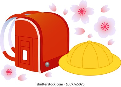 Japanese red school bag and school hat with falling cherry-blossoms