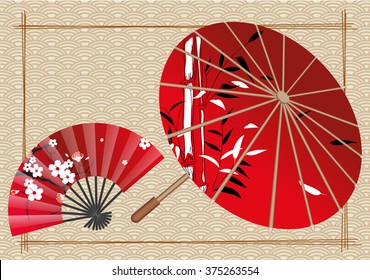 Japanese red umbrella and fan