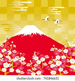 Japanese red-crowned crane flying in the Mount Fuji and plum