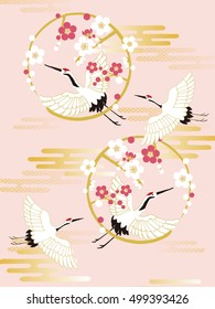 Japanese red-crowned crane flying  with plum blossom