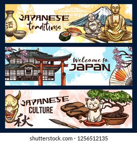 Japanese religion and culture symbols, welcome to travel, vector design. Sushi and roll, sake and Fuji, cat manekineko and torii gate, bonsai and pagoda temple, sakura branch and Buddha statue sketch