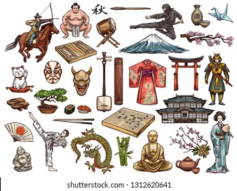 Japanese religion, culture and traditions vector isolated icons. Sushi and kimono, tea ceremony and samurai, drum taiko and origami, judo and karate. Fujiyama mount and geisha, sumo and bonsai tree