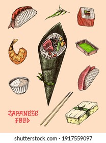 Japanese roll poster. Sushi bar, ramen noodles, soup in a bowl and dessert, Asian tea. Soy sauce. Hand holds chopsticks. Drawn engraved food sketch for menu. Monochrome style. Vector illustration