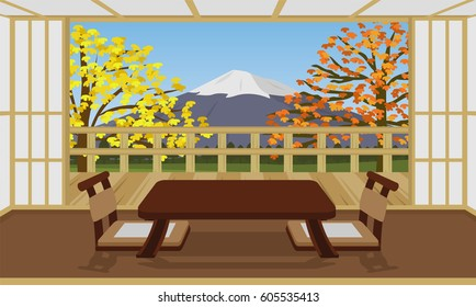 japanese room style hotel interior vector , with fuji mountain in autumn season background view