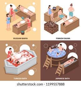Japanese russian and turkish bath houses and finnish sauna isometric design concept isolated vector illustration