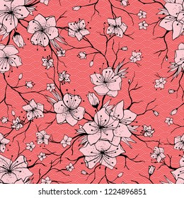 Japanese Sakura Branch and Blossoming Flowers. Classic Seamless Pattern, traditional kimono fabric, Asian festive design with spring floral, vector illustration, oriental background. Ready for print.