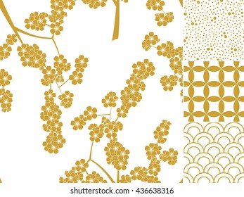 Japanese sakura gold seamless pattern set with traditional ornaments. Vector illustration
