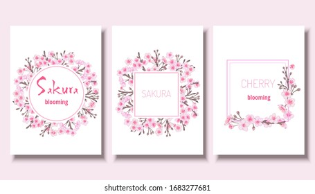 Japanese sakura spring template collection. Cherry blossom pink oriental background