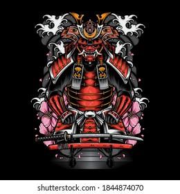 japanese samurai armor with katana vector