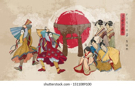 Japanese samurai and geishas. Ancient illustration. Classical engraving art. Asian culture. Kabuki actors. Medieval Japan background