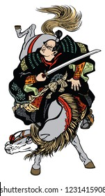 Japanese samurai horseman riding a pony horse and holding a sword . Medieval Asian warrior on a horseback. Isolated tattoo style vector illustration