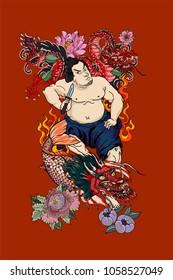Фотообои Japanese Samurai with koi carp and dragon tattoo full body.Hand drawn Traditional Japanese men vector.Samurai with cherry blossom and koi carp.Traditional Japanese tattoo style.