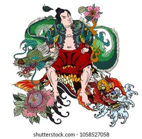 Japanese Samurai with koi carp and dragon tattoo full body.Hand drawn Traditional Japanese men vector.Samurai with cherry blossom and koi carp.Traditional Japanese tattoo style.