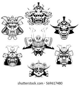 A Japanese samurai mask and helmet illustration