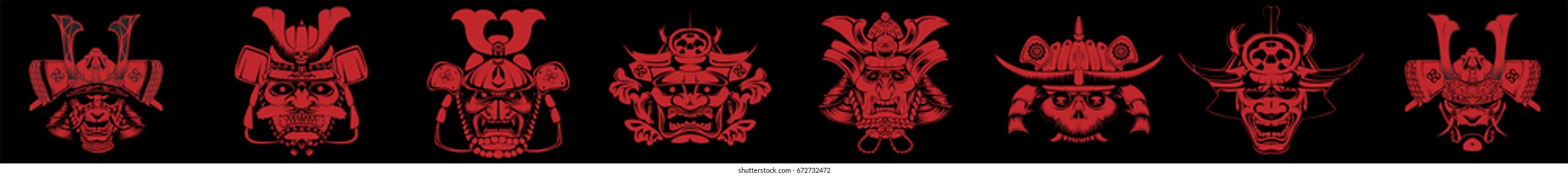A Japanese samurai masks and helmet illustration
