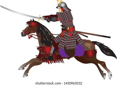 Japanese Samurai Riding Horse and holding Katana Sword - Vector