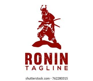 Japanese Samurai Ronin Ninja with Armor Helmet and Two Sword Illustration Logo Design
