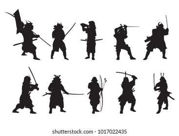 Japanese samurai. silhouettes. fighters