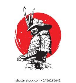 japanese samurai soldier on illustration