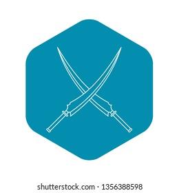 Japanese samurai swords icon. Outline illustration of Japanese samurai swords vector icon for web