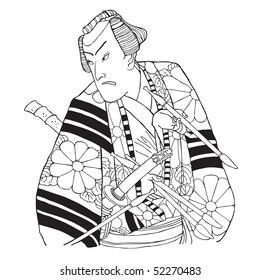 Japanese samurai. Vector illustration