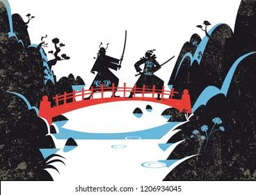 Japanese Samurai Warriors with katana sword fight. Vector illustration.