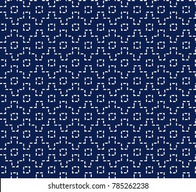 Japanese sashiko ornament. Asian embroidery motifs. Abstract seamless patterns. White stitches on the indigo blue background. For handicraft or decoration.