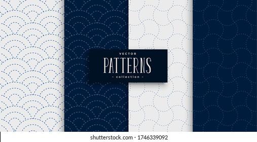 japanese sashiko pattern set in gray and indigo colors