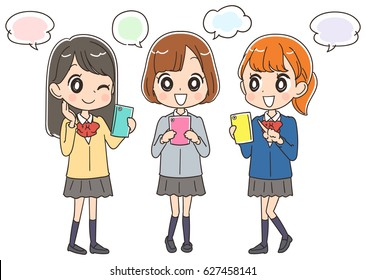 Japanese school girls are using a smartphone