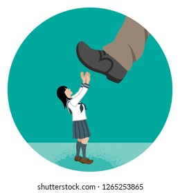 Japanese schoolgirl who is nearly trampled by the huge foot - Child abuse concept art