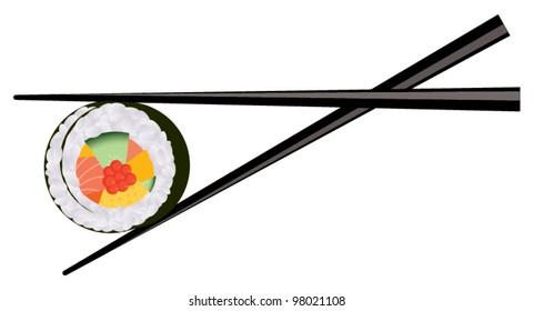Japanese seafood. Chopsticks holding sushi. vector sushi and chopsticks isolated on white background.