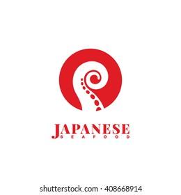 Japanese seafood logo template design. Vector illustration.