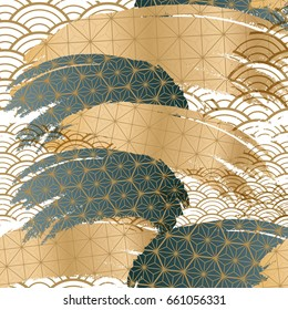 Japanese seamless pattern background. Collage design vector. Gold and green brush stroke element.