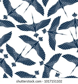 Japanese seamless pattern with beautiful cranes. Chinese vector background with flying birds. Ornament with oriental motives.