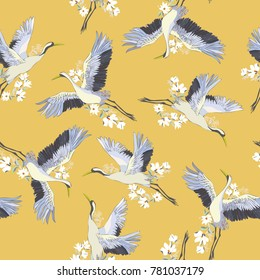 Japanese seamless pattern of birds and water. Traditional vintage fabric print. White and blue indigo background. Kimono design. Monochrome vector illustration.