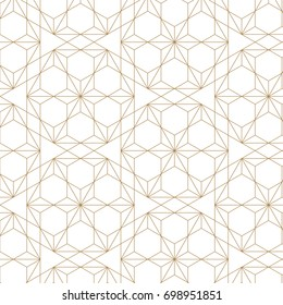 Japanese seamless pattern vector. Gold geometric background texture. Floral elements.