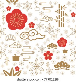Japanese seamless pattern vector. Red and gold traditional symbol seamless background for celebration card such as cherry blossom, bush, cloud, flower, bamboo, wave.