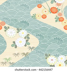 Japanese seamless pattern. Water, wave, current and chrysanthemum. Vector.
