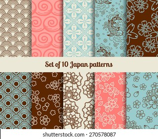 Japanese seamless patterns. Endless textures for backgrounds and wrapping papers