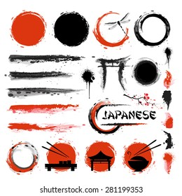 Japanese set of brushes and other design elements implemented in ink style.