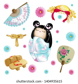 Japanese set with doll kokeshi, wooden sabots, paper fan and gold hair ornament. Japanese chrysanthemums. Vector national cartoon character and objects.