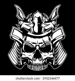 Japanese skull head Vector illustration black and white