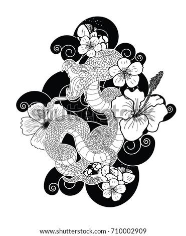 Japanese Snake Cherry Blossom Hibiscus Flower Stock Vector Royalty