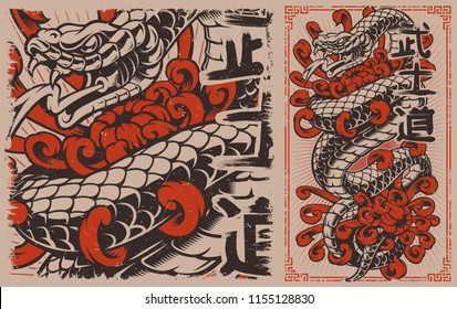 Japanese snake tattoo design. Viper and chrysanthemums in japanese style. Perfect for the posters, shirt prints, and many other.