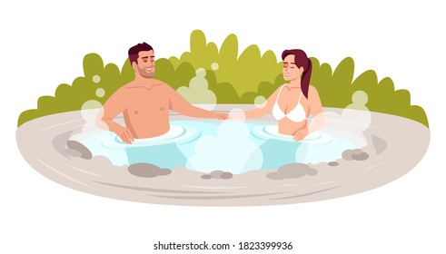 Japanese spa resort semi flat RGB color vector illustration. Hot springs for couple relaxation. Hot steam outdoor bathtub. Boyfriend and girlfriend isolated cartoon characters on white background