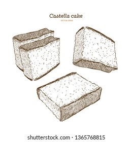 Japanese sponge cake - castella. Hand draw sketch vector.