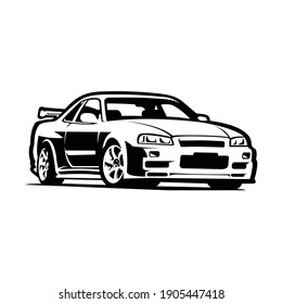 Japanese sport car vector isolated, best for mechanic or garage illustration and logo