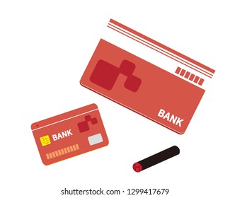 Japanese stamp.Vector icon for bankbook.Vector credit card. Business and finance.